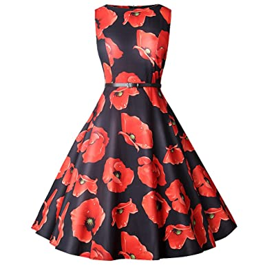 8971a4c0ee54 iBelly Women s Boat-Neck Sleeveless Mini Dresses Vintage Print ...