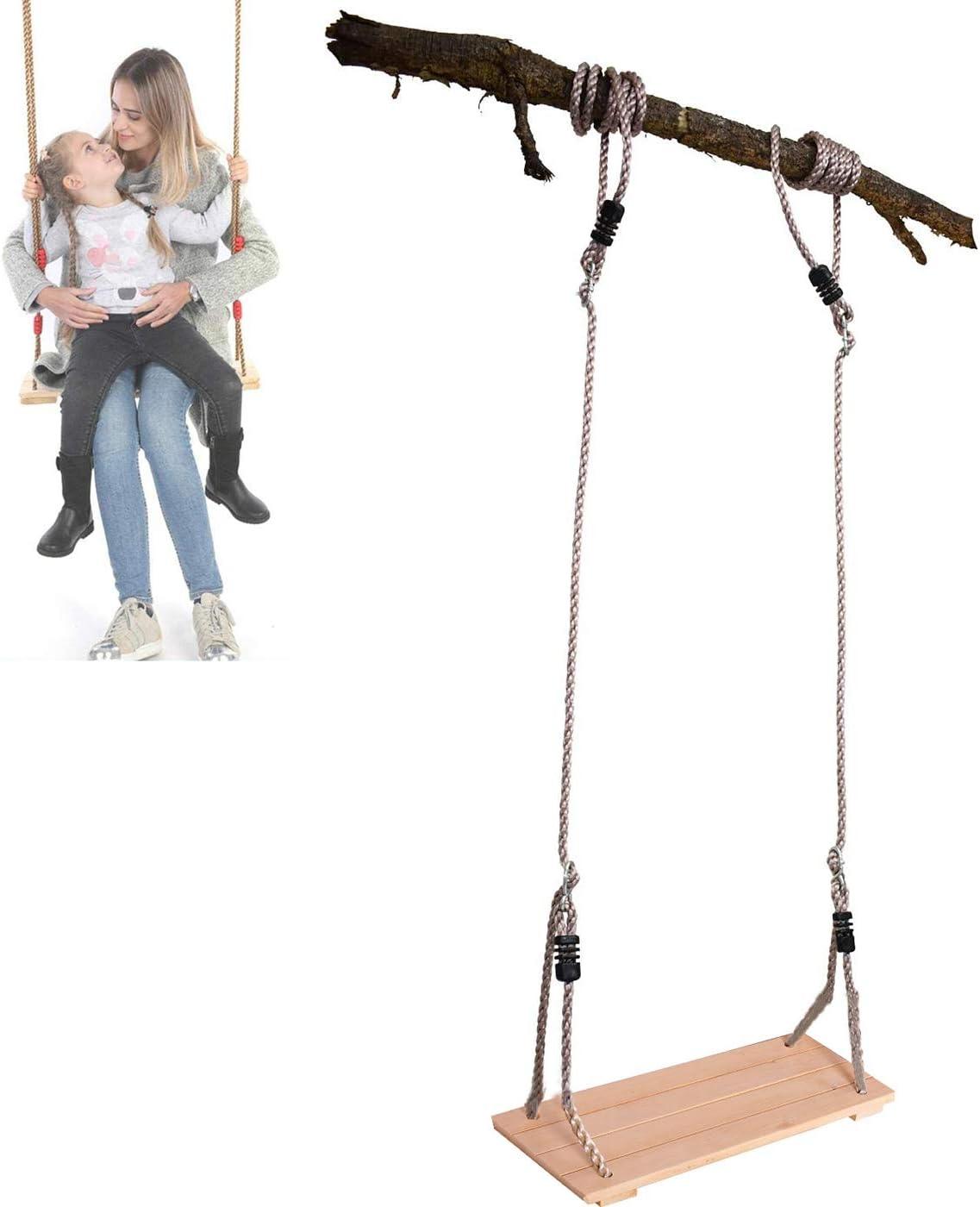 Enweonga Antiseptic Wooden Swing Seat for Kids, 150kg Load, Outdoor Baby Garden Swing Toy, Trapeze Swing Hammock Bench