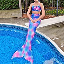 PePeng Mermaid Tail Bikini Swimwear for Age 4-10 Years Girls, Set of 2 Pcs Fancy Swimmable Sea-maid Costume for Kids