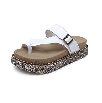 e28daa68b965c Tong femme plat cuir bison sandale de romaine claquette mule plage piscine  antidérapant blanc 40