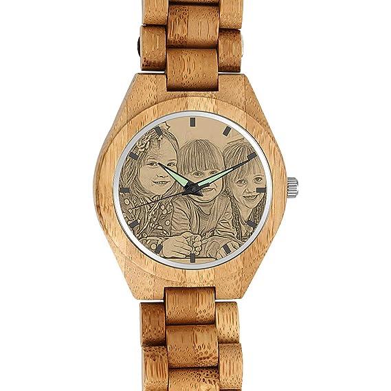 4a0e9eb3 SOUFEEL Reloj Madera Personalizado Foto y Grabado Punteros Luminosos Cuarzo  Regalo Personalizado para Familia Hombre Mujer Amigo Pareja: Amazon.es:  Relojes