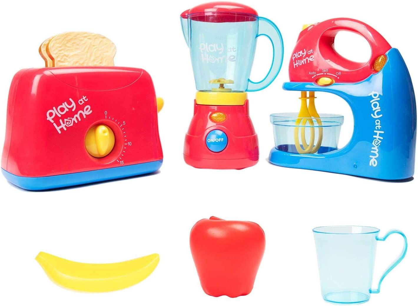 Toy Chef Play Kitchen Appliances – Premium Set of Toaster Toys for Kids with Kitchen Mixer and Pretend Blender – Red and Blue Toddler Kitchen Accessories – Cool Present for Girls and Boys