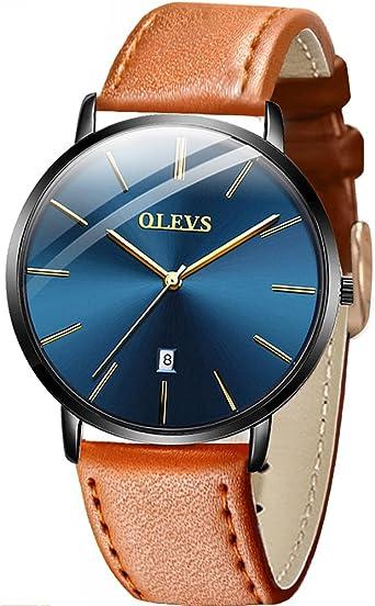 Relojes de cuero para hombres en liquidación de venta, Reloj de pulsera con fecha de cuarzo para hombres, Vestido de negocios para hombres con banda ...