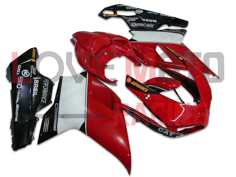 LoveMoto ブルー/イエローフェアリング デュカティ ducati 1098 848 1198 2007 2008 2009 2010 2011 2012 07-12 ABS射出成型プラスチックオートバイフェアリングセットのキット レッド ブラック   B07KQ558G1