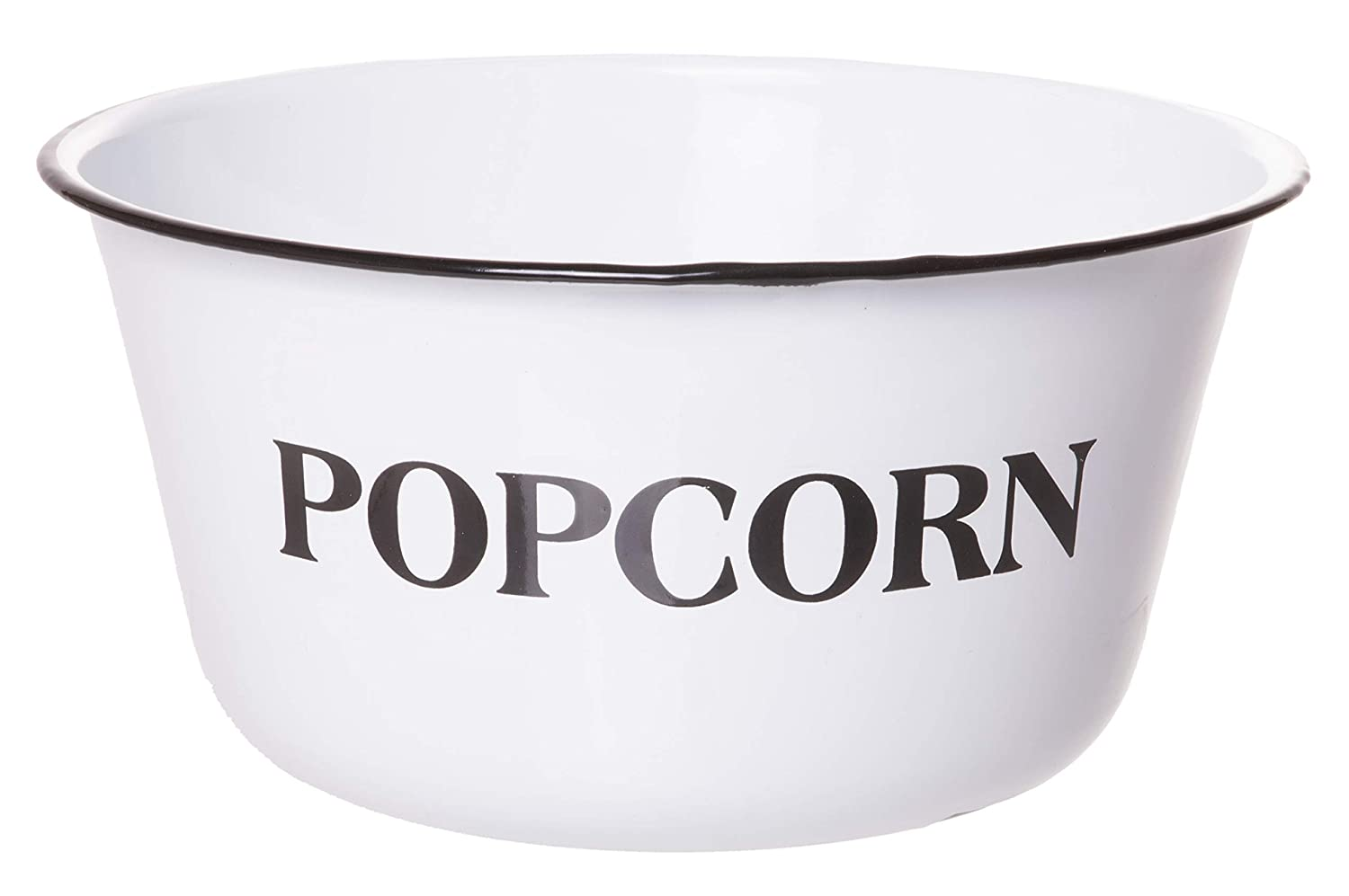 Red Co. Extra Large Enamel Popcorn Bowl, Mixing & Serving Container, White with Distressed Black Accents, 4 Quart