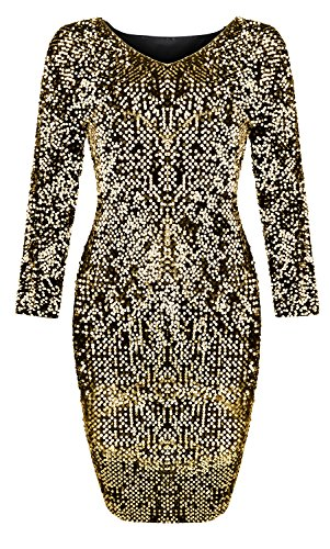Yomoko Women's Sequin V-Neck Long Sleeve Bodycon Sparkle Party Sheath Mini Dress (X-Large, Gold)