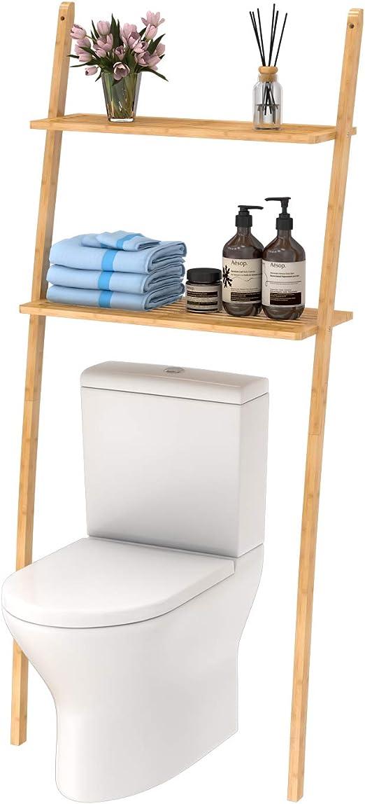 Estantería de baño, estantería para lavadora, ahorra espacio, de bambú, con 2 estantes, 173 x 66 x 25 cm, Marrón