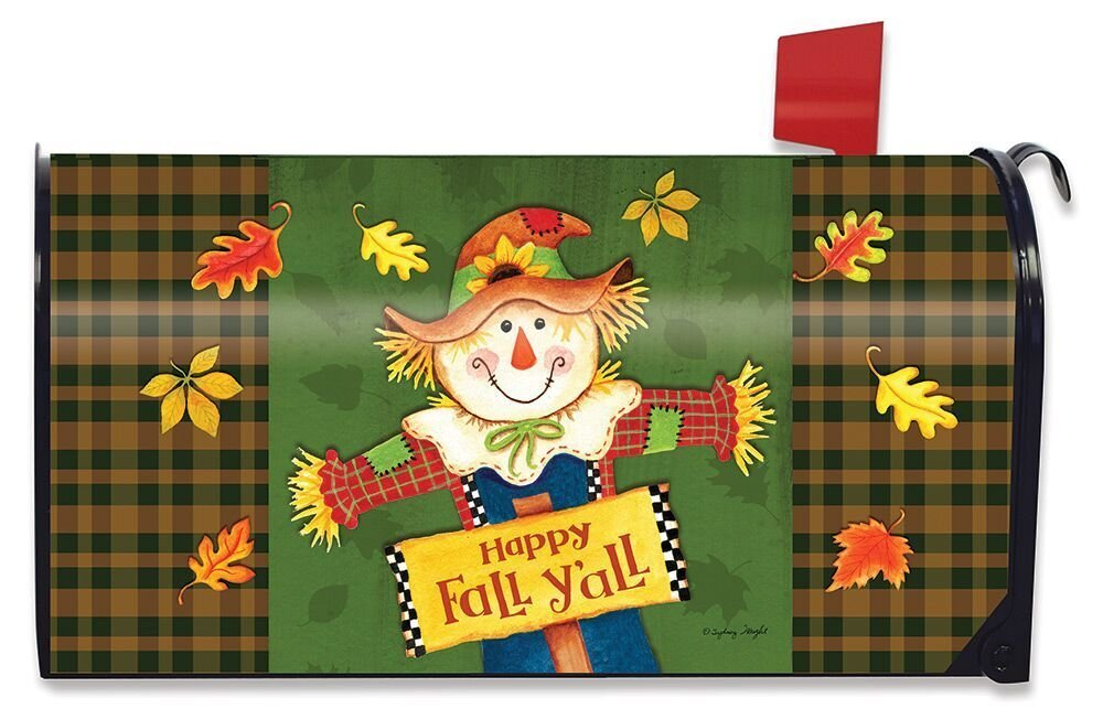 Briarwood Lane Fall Y'all Scarecrow Primitive Magnetic Mailbox Cover Autumn Leaves Standard