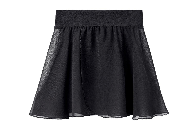 STELLE Girls/Womens Chiffon Wrap Skirt for Dance(Black (P-O), Large - Women(Waist: 30.5-32 In))