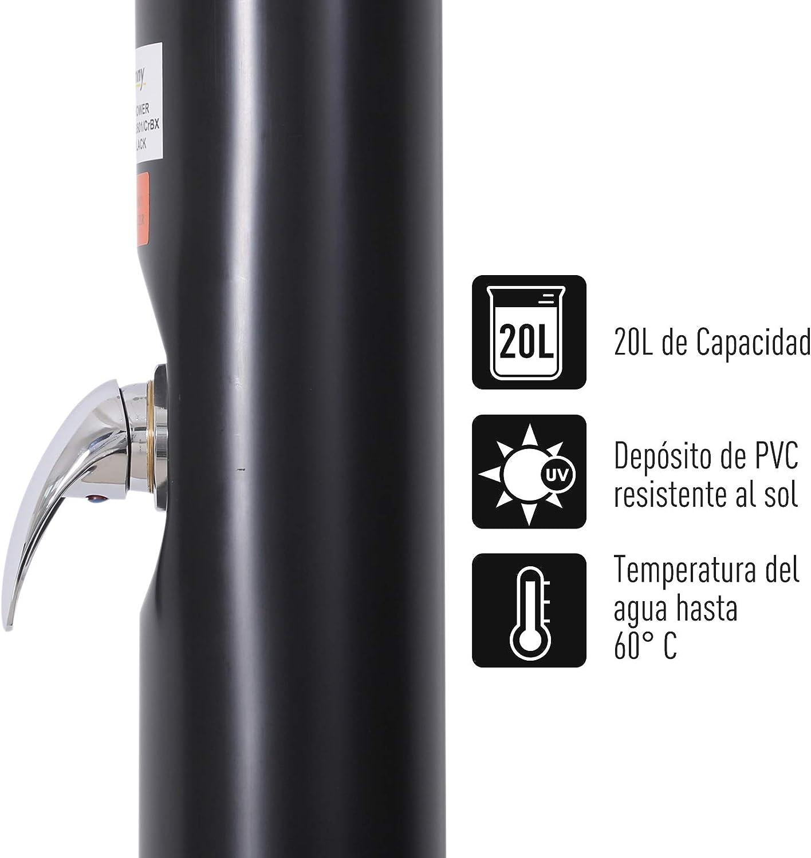 Outsunny Ducha Solar Exterior de PVC 20L Ducha de Jard/ín o Ducha de Terraza hasta 60℃ y 20L para Piscinas al Aire Libre 218cm