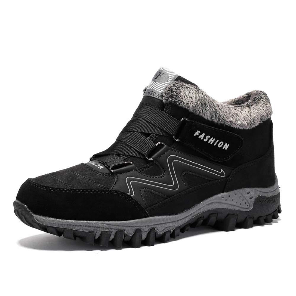 Bottes De Neige EntièreHommest Doublé De Fourrure Bottes Imperméables en Cuir Anti-dérapantes Chaussures,Bottes De Bottines Chaudes,randonnée,Hommes-noir-45