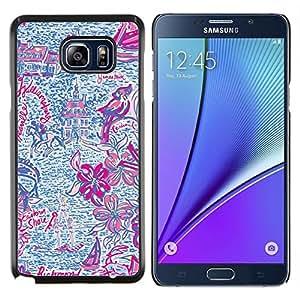 LECELL--Funda protectora / Cubierta / Piel For Samsung Galaxy Note 5 5th N9200 -- Dibujado Summer Fun Purple Pink --