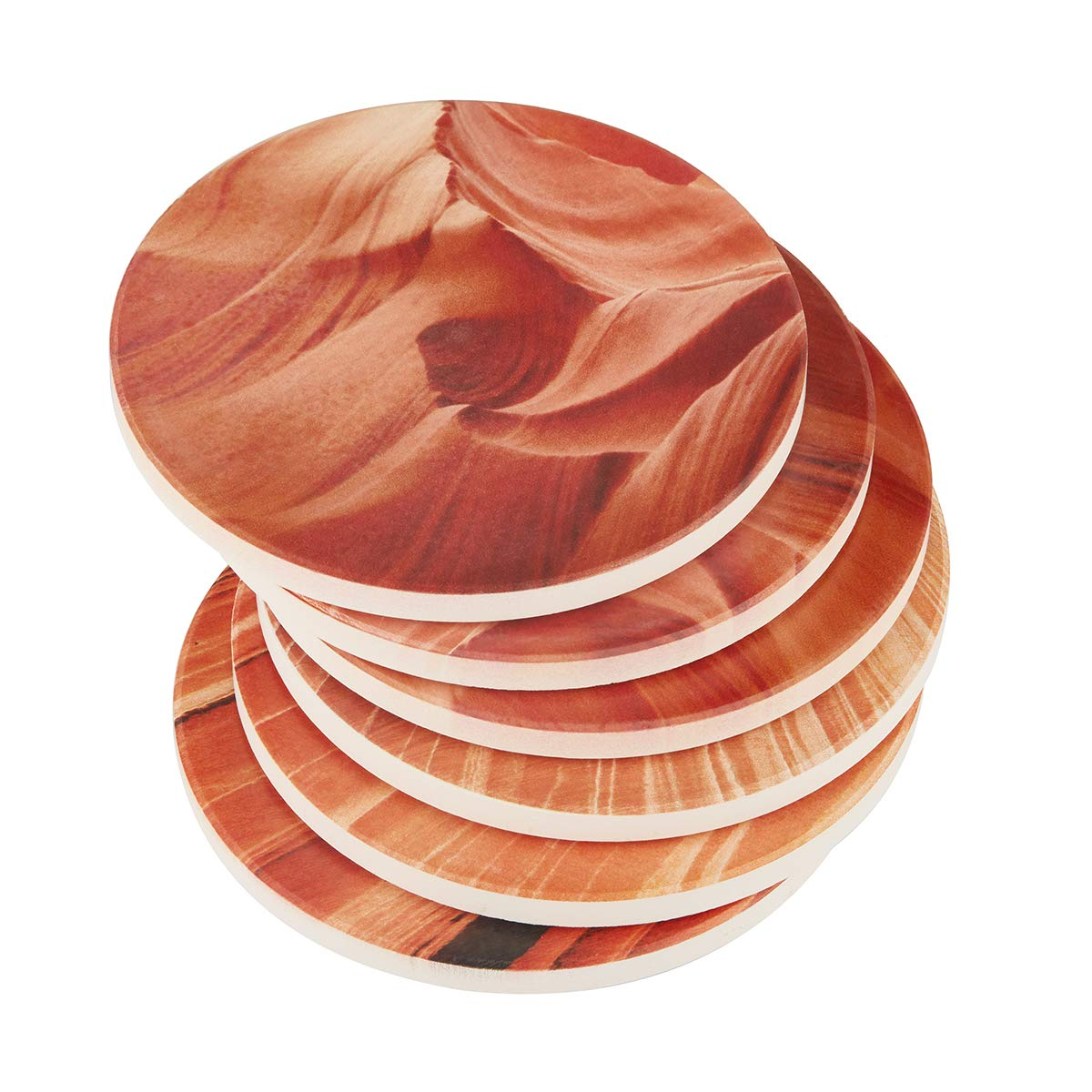 DOWAN Absorbent Stone Coasters, Drink Spills Coasters Set, Natural Grand Canyon Varying Patterns, Multicolor, Set of 6