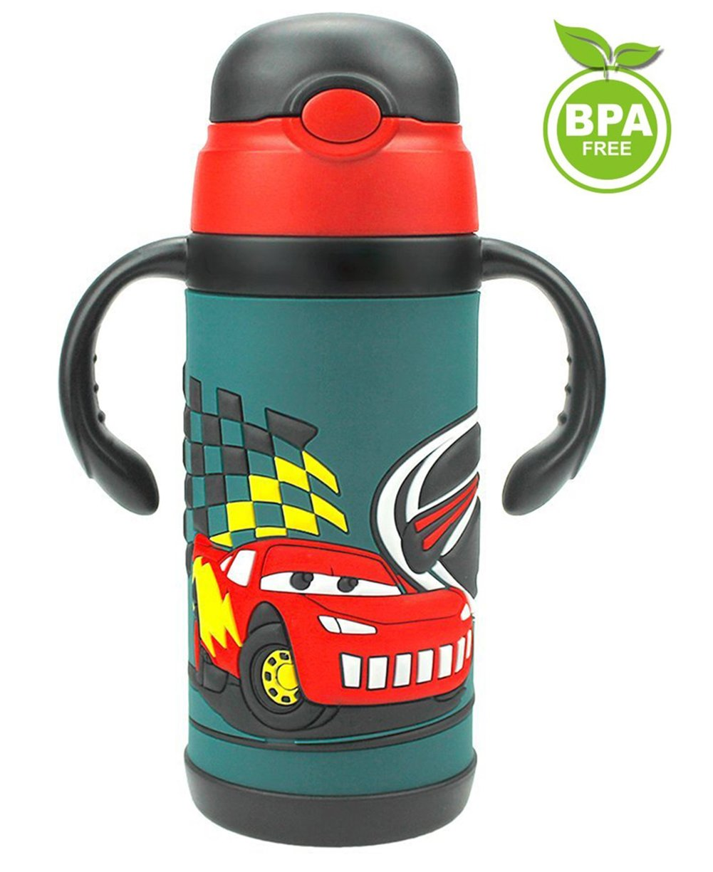 LOLOOP 13oz Cartoon Cars Water Bottle for Kids,18/8 Stainless Steel Vacuum Insulated Straw Bottle for Children