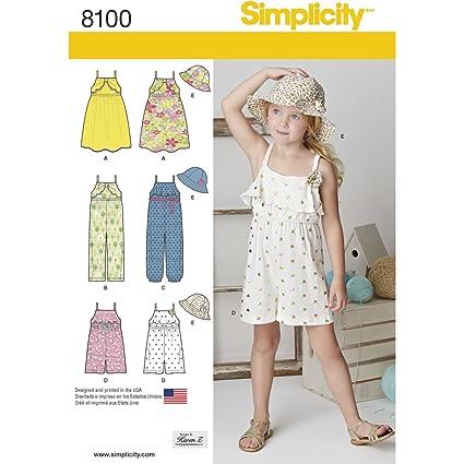 Simplicity Infantil Jumpsuit/Body Patrón de Costura Vestido y Sombrero, Papel