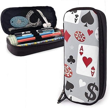 Estuche para bolígrafo de cuero Poker Casino Patrón sin costuras Bolso para lápices Estuche para lápices Estuche para bolígrafo: Amazon.es: Oficina y papelería