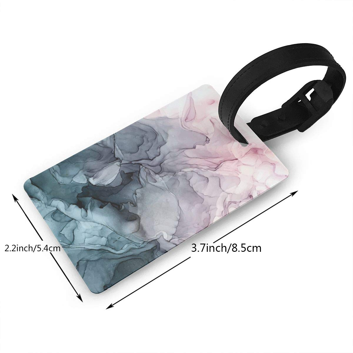 Set of 2 Blush and paynes grey flowing abstract painting Luggage Tags Suitcase Labels Bag Travel Accessories