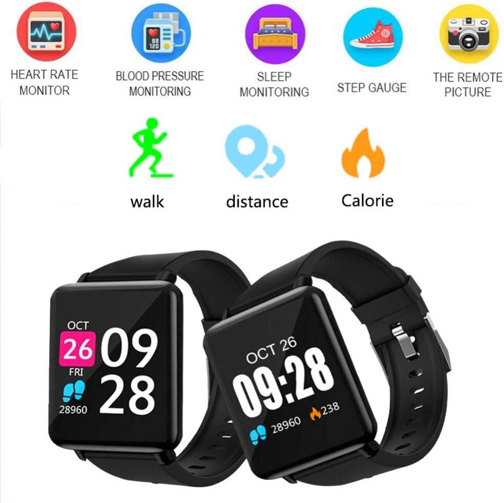 NSADBVTW Orologio Sportivo Smart Watch Uomo Donna Orologi Sportivi Braccialetto Fitness Monitoraggio della frequenza cardiaca Orologio sanguigno Smartwatch IP67 + Scatola Nero