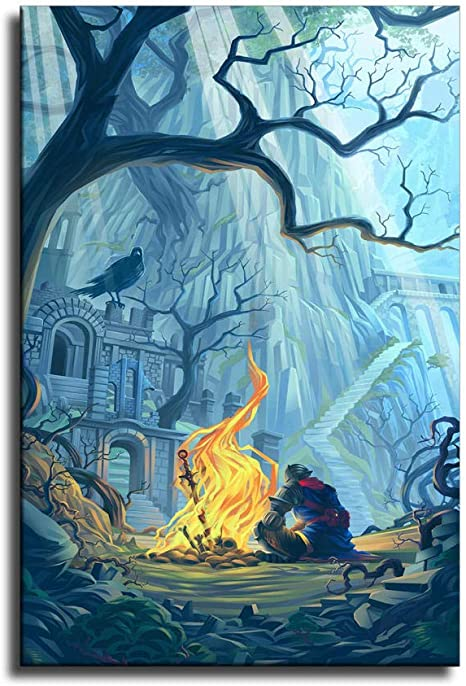 Bloodborne Art P/óster de lienzo y pared para decoraci/ón de dormitorio familiar
