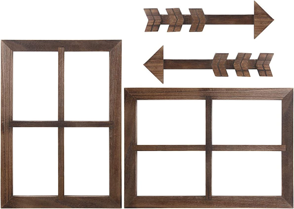 Butizone Wood Window Frames and Arrows Rustic Wall Decor, Farmhouse Window Pane with Arrows Home Wall Hanging Decor for Entryway, Living Room, Bedroom, Kitchen, 2 Sets
