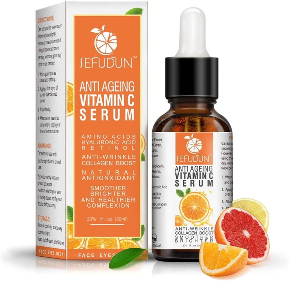 ErYao Vitamin C Serum for Face with Hyaluronic Acid, Anti Aging Facial Serum with Witch Hazel Soothing Skin Serum and Aloe Deep Moisturizing Extract, Brighten& Even Skin Tone Serum