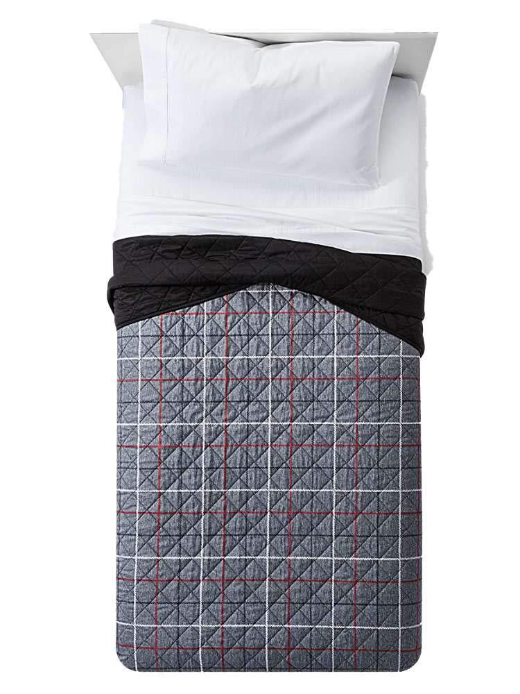 Gray Window Pane Quilt Twin