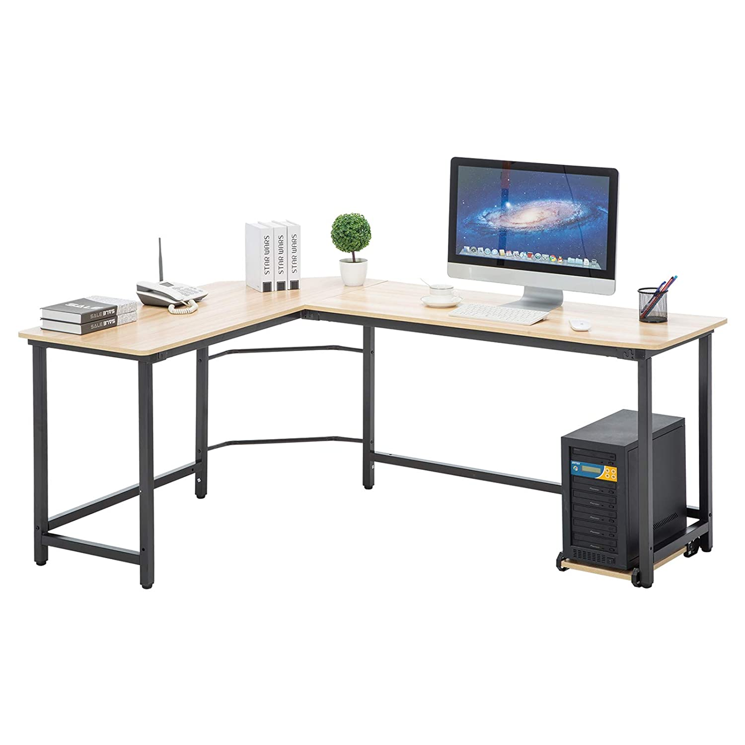 Mecor L-Shaped Desk, Modern Corner Computer Desk Table W/Free Cup Stand for  Home Office, Wood Top & Metal Frame, Beige