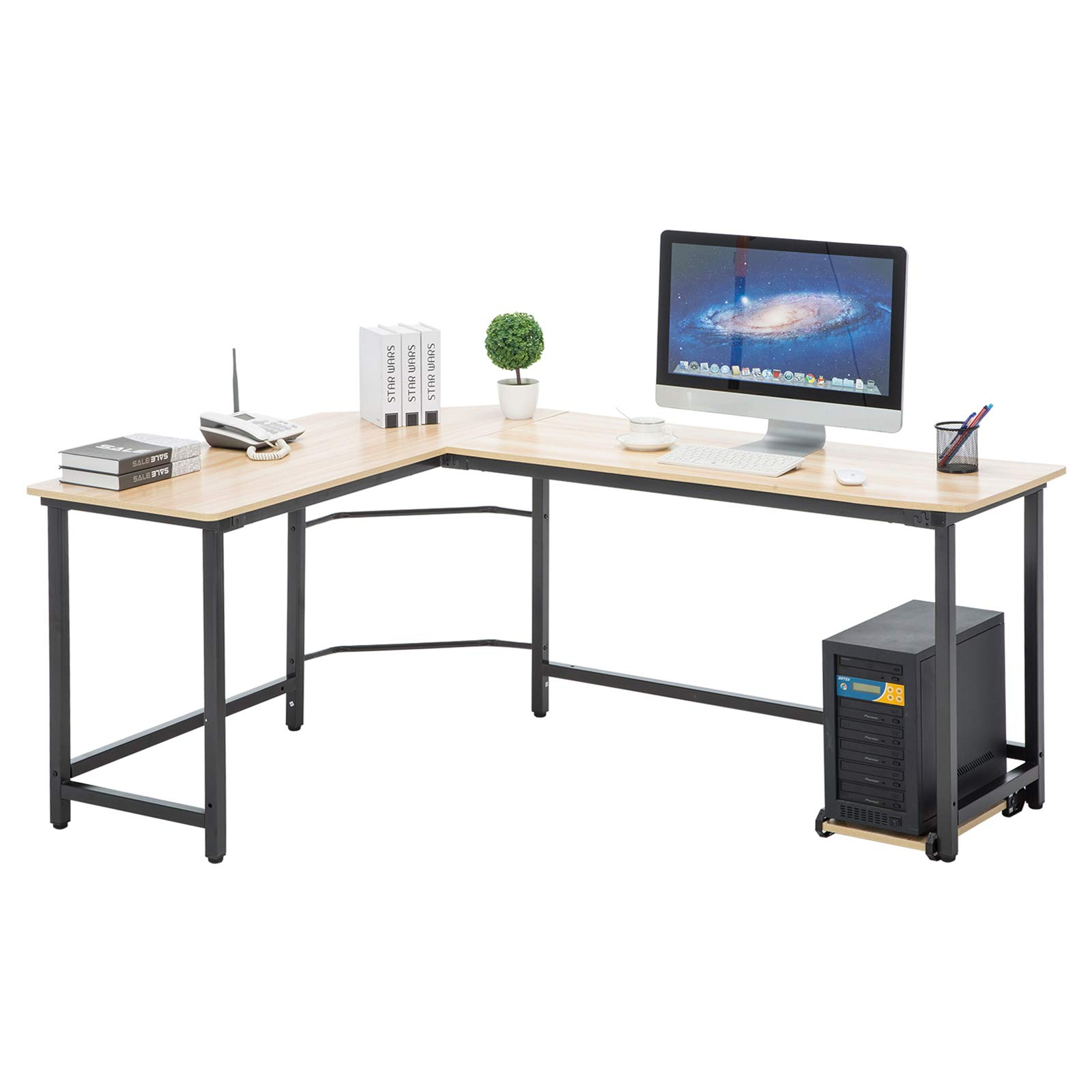 Mecor L-Shaped Modern Corner Computer Desk W/Free Cup Stand, Laptop PC Table Workstation Home Office, Wood & Metal Frame, Beige