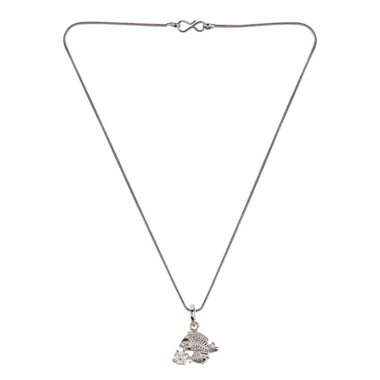 Efulgenz Silver Plated Cubic Zirconia Zodiac Piscean Sign Pendant Chain Constellation Necklace Jewelry Birthday Gift