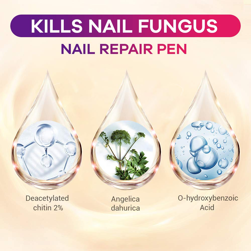 Nail Repair Pen, Toenail Treatment, Toenail Care, Solution Repairs & Protects from Discoloration, Brittle and Cracked Nails 4 pcs : Beauty