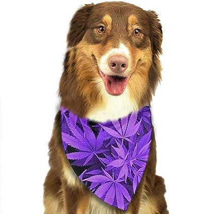 Amazon ZZJIAK Dog Bandana Scarf Purple Weed Leaves Triangle