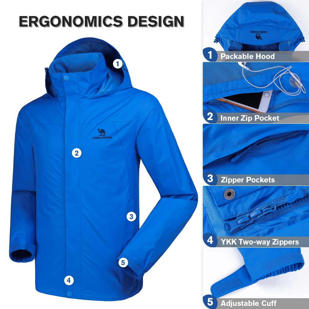 f04a6ee23 CAMEL CROWN Mens Waterproof Rain Jacket Hooded Windbreaker Windproof ...