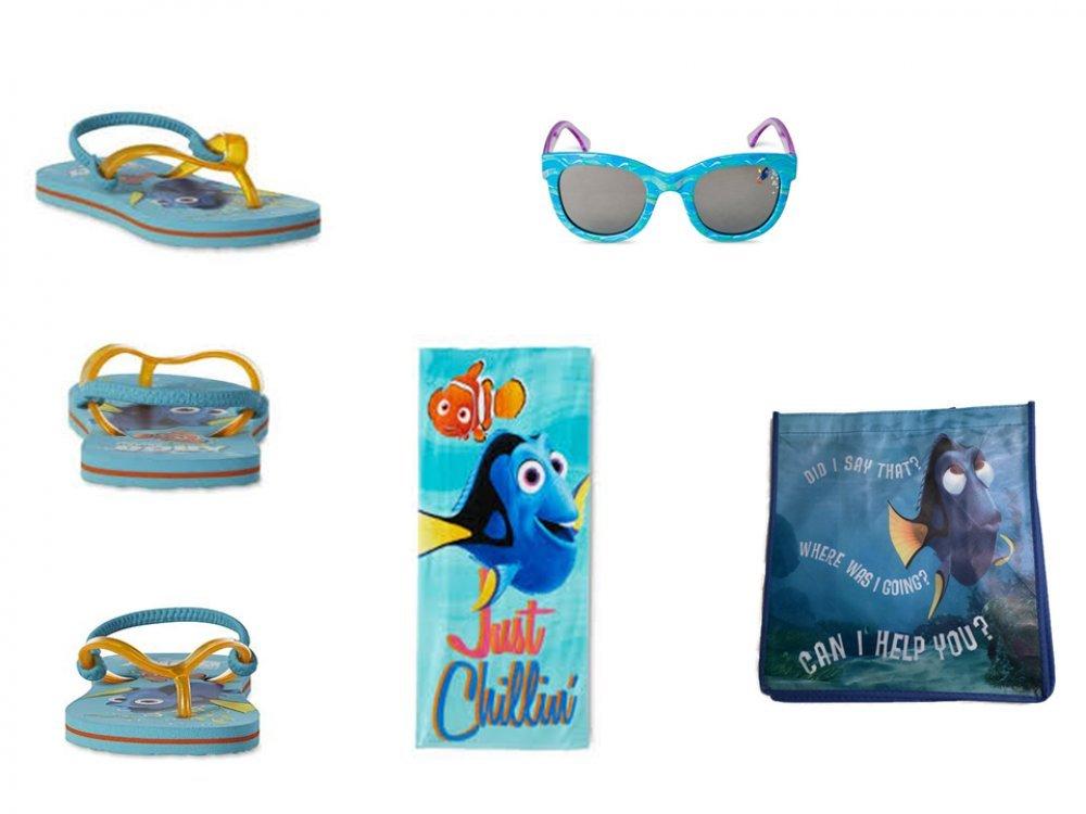 Disney Toddler Girl's Finding Dory Flip Flop Sandals, Beach Towel PLUS Sunglasses (11/12)