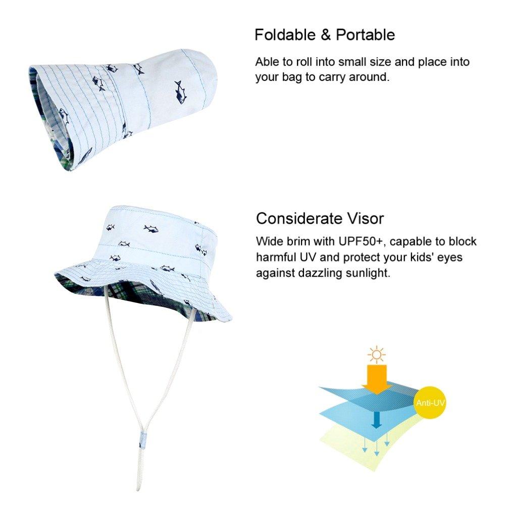 Baby Swiming Hat Bucket Sun Hat Chin Strap Fishing Hat Summer UV Protection Hat Toddler Kids