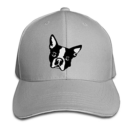 d7b3f19ca71 Adjustable Baseball Cap Boston Terrier Dog Head Unisex Dad Hats Sandwich  Caps