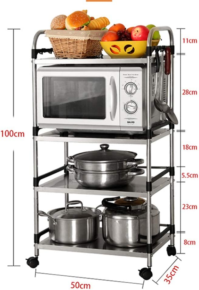 Multifunctional Organize Cabinet Organizer Oven Stand Unit ZSY 4-Tier Stainless Steel Kitchen Microwave Storage Rack Cart with Universal Caster Wheels