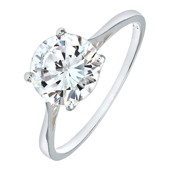 Mogul Silver Cubic Zirconia Set Solitaire Ring ufIf7m