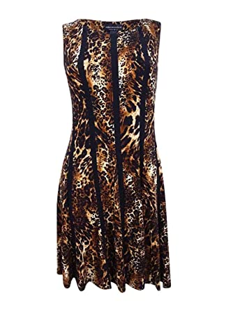 40e0270483 Connected Women s Petite Animal Print A-Line Dress at Amazon Women s  Clothing store