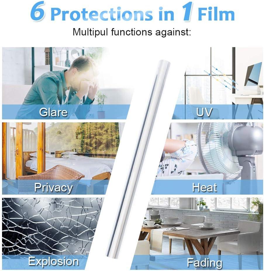 Film Opaque Fenetre D/écoratif pour Maison Bureau Salle de Bain Homein Film Miroir Fen/être Adh/ésif 44.5x200CM Film occultant Fen/être Anti-Regard Anti 99/% UV sans Tain pour Vitre Argent