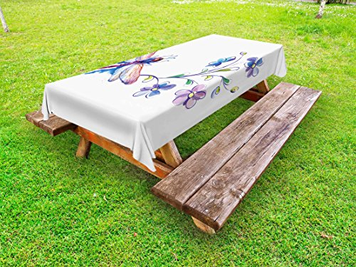 Ambesonne Dragonfly Outdoor Tablecloth, Watercolor Bug Butterfly Like Moth with Branch Ivy Flowers Lilies Art, Decorative Washable Picnic Table Cloth, 58 X 104 Inches, Green Purple and Blue ()