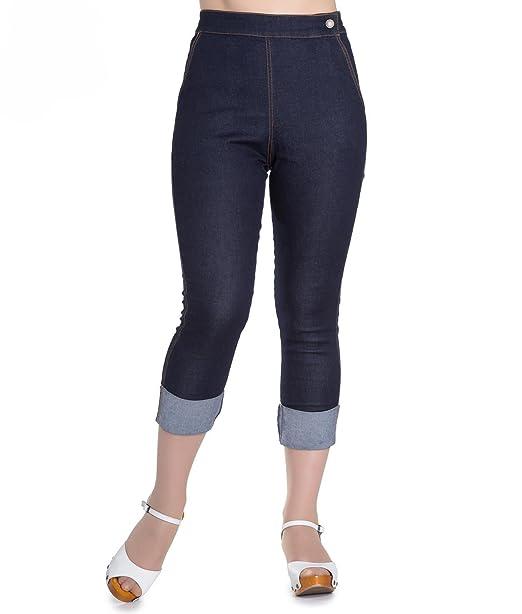 7d710e340a8 Hell Bunny 50s Ronnie Blue Denim Rockabilly Capris Jeans  Amazon.co.uk   Clothing