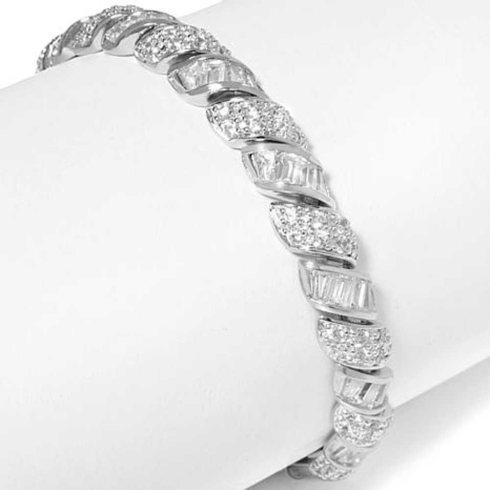 Smjewels Pave and Baguette D/VVS1 Diamond 14K White Gold Plated San Marco Bracelet