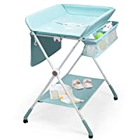BABY JOY Baby Changing Table, Height Adjustable 4 in 1 Folding Diaper Station w/Detachable Wheels, Safety Belt, Storage Rack & Bag, Waterproof Pad, Portable Nursery Organizer for Infant Newborn, Aqua