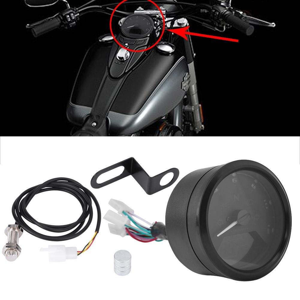 Qiilu 12000RMP LCD Digital Veloc/ímetro Tac/ómetro Indicador de Engranaje para Moto Scooter ATV