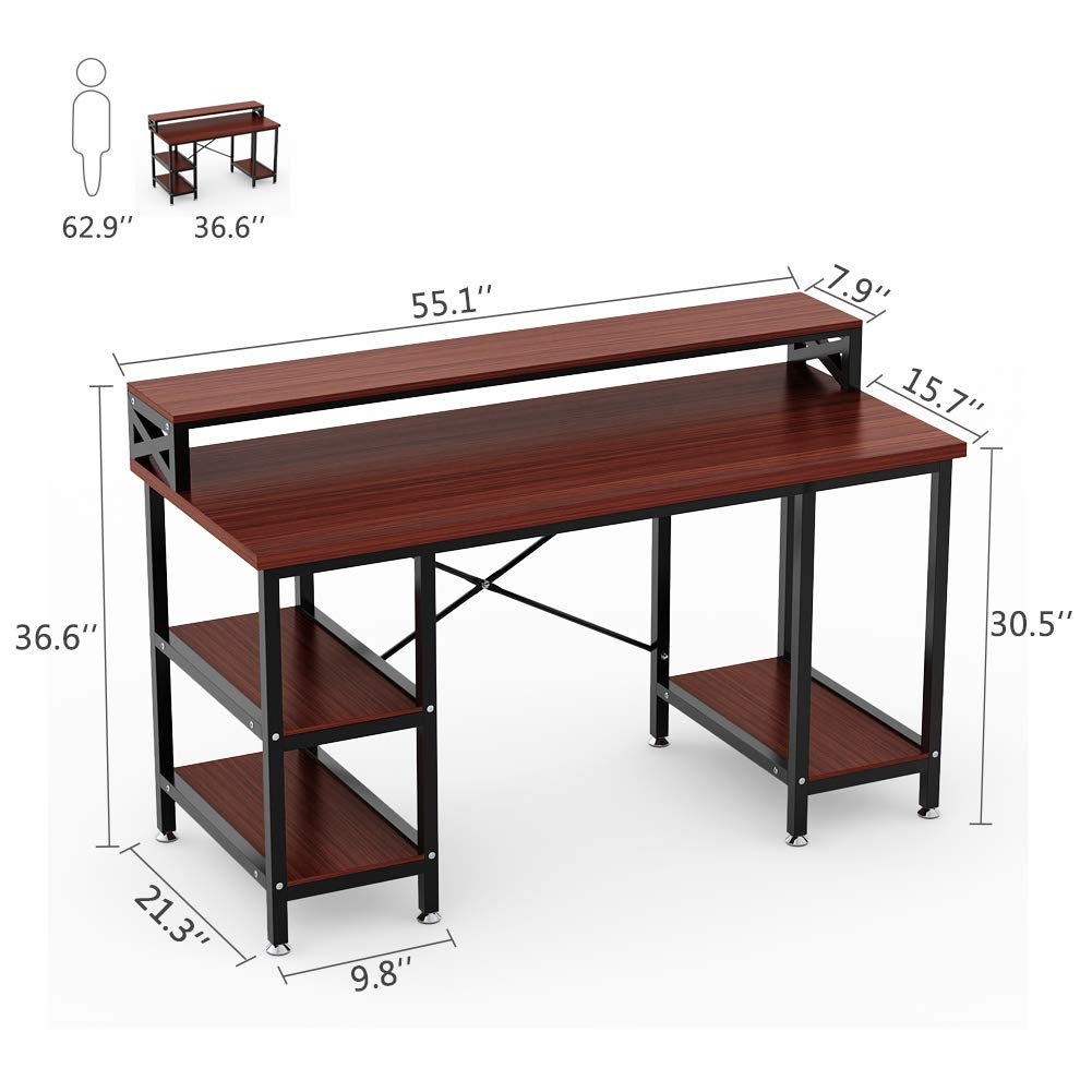 Tribesigns computer desk with storage shelves 55 large modern office desk computer table studying writing