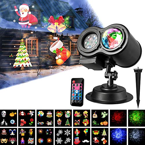 Balai Led Projector Lights Wave Light with 12 Slides Pattern 2 in 1 Outdoor/Indoor Party Lights Landscape Garden Bedroom Lawn Patio Yar Lighting Projector for Christmas Halloween (Ship from USA) (Bar 4 Lightwave)