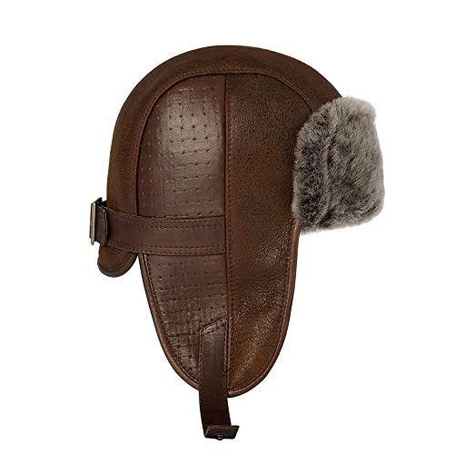 Amazon.com  OrlovNY Men s Sheepskin Leather Bomber Hat Winter Trapper  Ushanka Aviator Russian Hats  Clothing b66f667dc12f