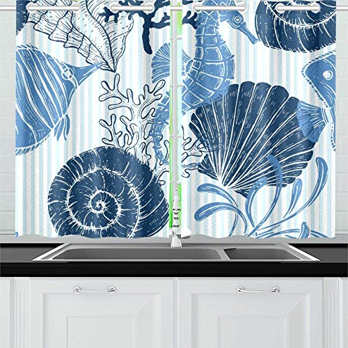 Seashells Window Windows - YUMOING Sea Seashell Seahorse Coral Kitchen Curtains Window Curtain Tiers for Café, Bath, Laundry, Living Room Bedroom 26 X 39 Inch 2 Pieces