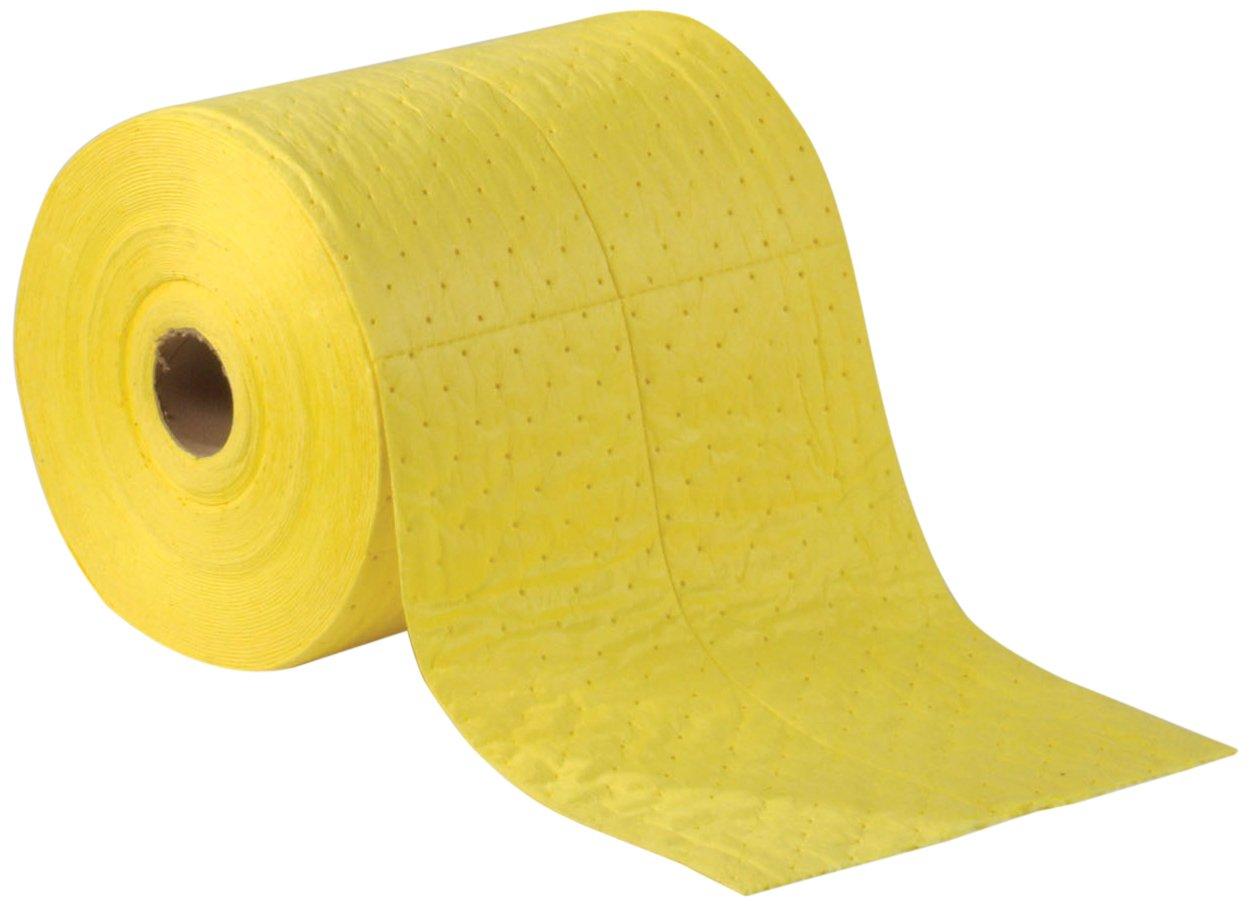 ESP 2MBYRB Polypropylene Medium Weight Meltblown Absorbent Sonic Bonded HazMat Roll, 39 Gallons Oil and 25 Gallons Water Absorbency, 150' Length x 30'' Width, Yellow