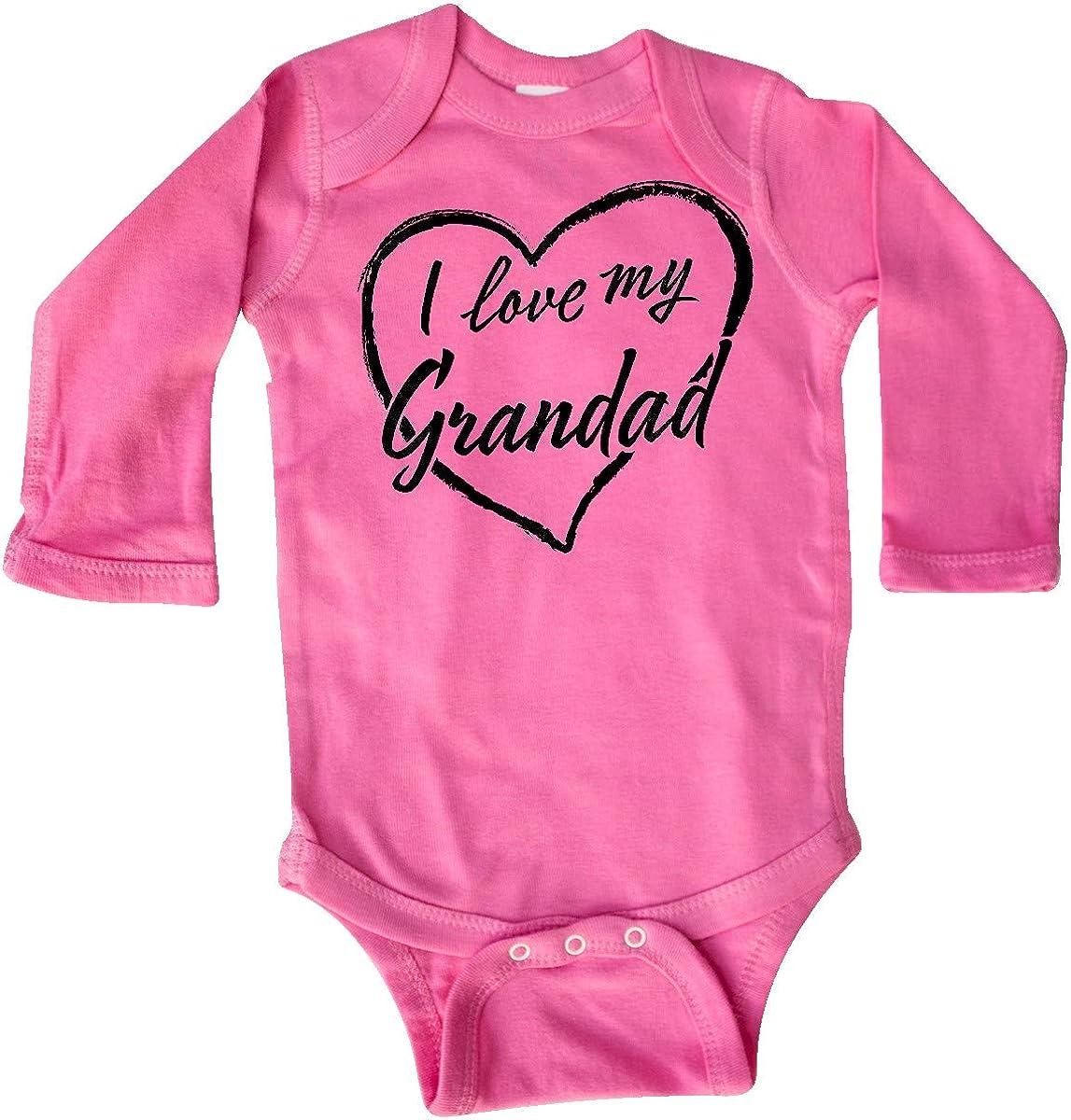 inktastic I Love My Grandad in Black Chalk Heart Long Sleeve Creeper